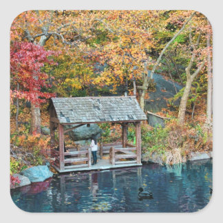 NYC Central Park Autumn, The Lake & Little Dock Square Sticker