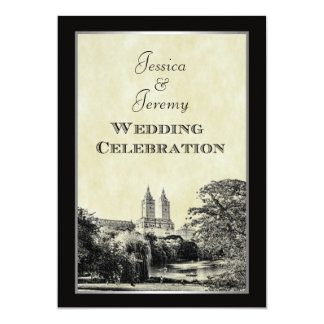 NYC Central Park Lake San Remo Etched Frm Wedding Custom Invites