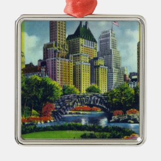 NYC Central Park View of 5th Ave Hotels Silver-Colored Square Ornament