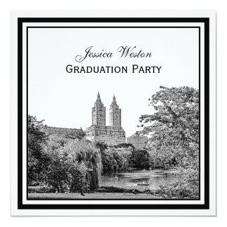 NYC Centrl Pk Lake San Remo Etched SQ Graduation Personalized Invites