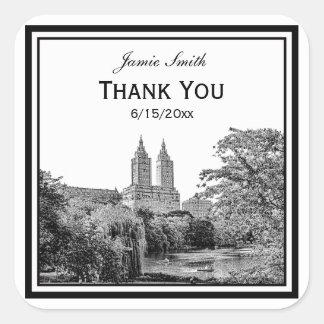 NYC Centrl Pk Lake San Remo Etched SQ Thank You Square Sticker