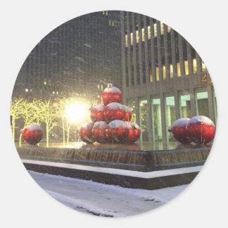 NYC Christmas Ball Decorations Snow Xmas Stickers