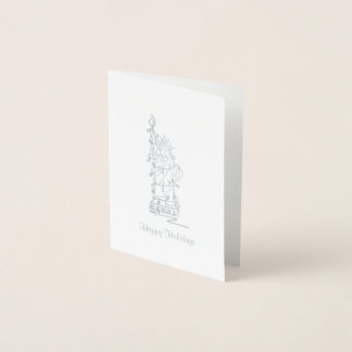 NYC Christmas Hanukkah Statue of Liberty Holiday Foil Card