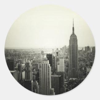 NYC Cityscape Classic Round Sticker