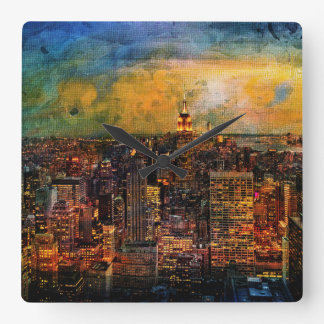 NYC Color Grunge Square Wall Clock
