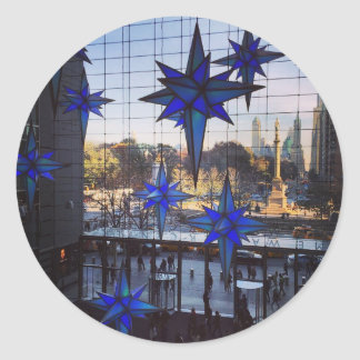 NYC Columbus Circle Merry Christmas Stars Stickers