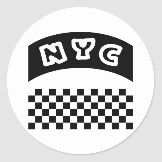 NYC Cutout With Taxi Checkerboard And Banner Round Sticker