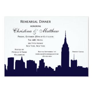 NYC Dark Blue Skyline Silhouette Rehearsal Dinner 5x7 Paper Invitation Card