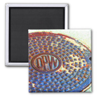 NYC DPW Manhole Cover Square Magnet