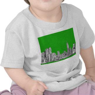NYC drawing bright green Tees