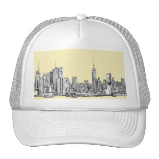 NYC drawing in cream ivory Hat