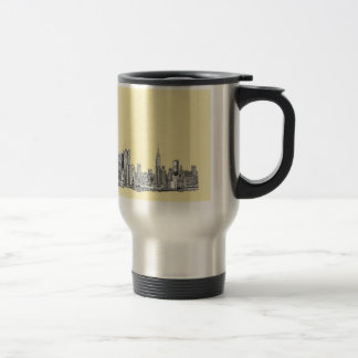 NYC drawing in cream ivory Travel Mug