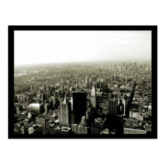 NYC Empire State View B&W Postcard
