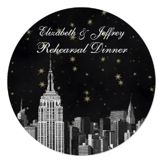 """NYC ESB Skyline Etched Black Starry Rehearsal Din 5.25"""" Square Invitation Card"""