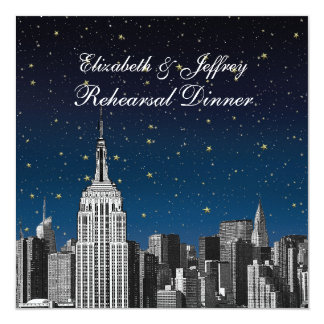 """NYC ESB Skyline Etched Blue Star Rehearsal Dinner 5.25"""" Square Invitation Card"""