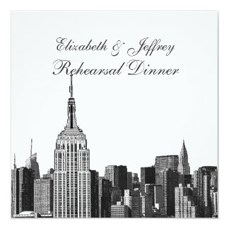 """NYC ESB Skyline Etched Look Rehearsal Din 5.25"""" Square Invitation Card"""