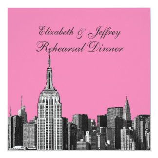 """NYC ESB Skyline Etched Look Rehearsal Dinner 5.25"""" Square Invitation Card"""