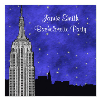 NYC ESB Skyline Silhouette Blu Starry Bachelorette Custom Announcement