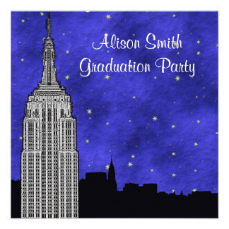 NYC ESB Skyline Silhouette Blue Starry Graduation Custom Invitations