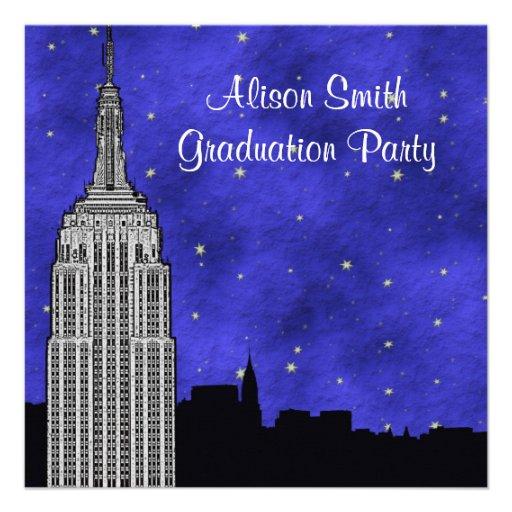 NYC ESB Skyline Silhouette Blue Starry Graduation Custom Invitations