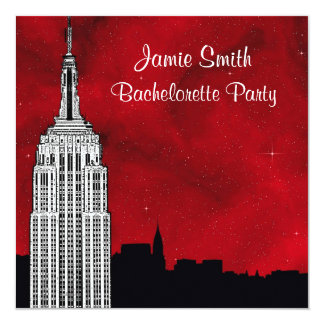 "NYC ESB Skyline Silhouette Red Starry Bachelorette 5.25"" Square Invitation Card"