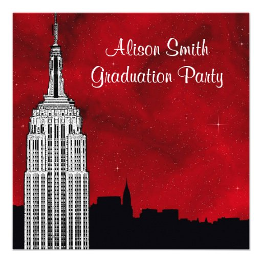 NYC ESB Skyline Silhouette Red Starry Graduation Custom Announcements
