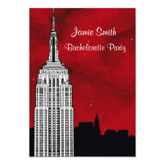 NYC ESB Skyline Silhouette Red Strry2 Bachelorette Announcements