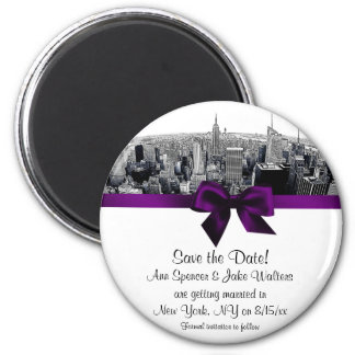 NYC Etched Fisheye Skyline BW Purp Save the Date R 2 Inch Round Magnet