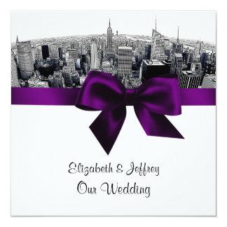 "NYC Etched Fisheye Skyline BW Purple Wedding SQ 5.25"" Square Invitation Card"