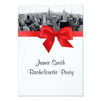 NYC Etched Fisheye Skyline BW Red Bachelorette Personalized Announcements