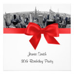 NYC Etched Fisheye Skyline BW Red Birthday SQ