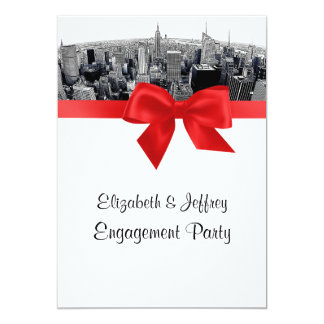 "NYC Etched Fisheye Skyline BW Red Engagement 5"" X 7"" Invitation Card"