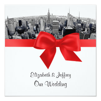 "NYC Etched Fisheye Skyline BW Red Wedding SQ 5.25"" Square Invitation Card"