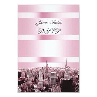 NYC Etched Skyline 2 Black Pink RSVP 3.5x5 Paper Invitation Card
