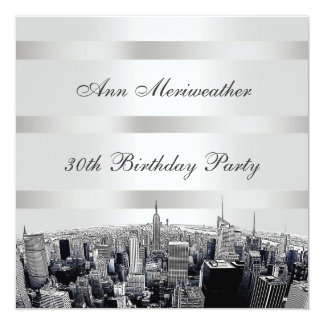 "NYC Etched Skyline 2 Black White Birthday 5.25"" Square Invitation Card"