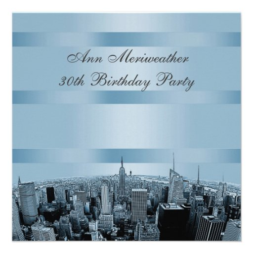 NYC Etched Skyline 2 Blue Black Birthday Custom Announcements
