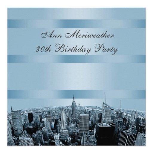 NYC Etched Skyline 2 Blue Black Birthday Custom Announcements