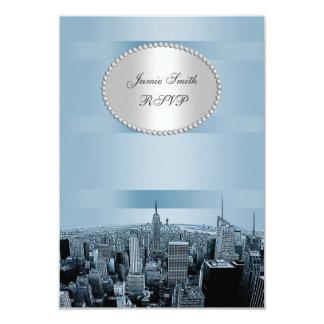 NYC Etched Skyline 2A, Black Blue RSVP 3.5x5 Paper Invitation Card