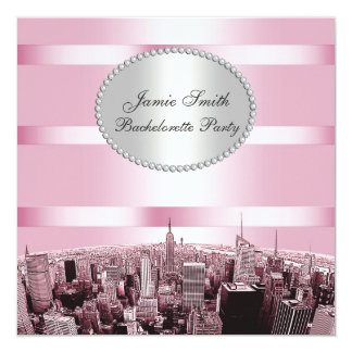 NYC Etched Skyline 2A Black Pink Bachelorette Custom Announcements