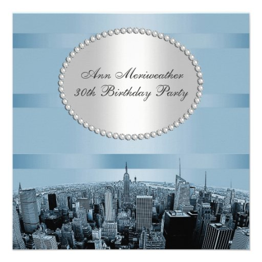 NYC Etched Skyline 2A Blue Black Birthday Personalized Invitation