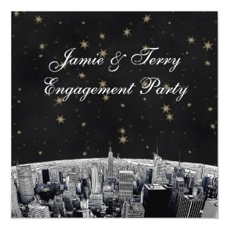 NYC Etched Skyline Black Gold Star Engagement Personalized Invitation