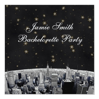 NYC Etched Skyline Black Gold Stars Bachelorette 5.25x5.25 Square Paper Invitation Card