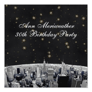 "NYC Etched Skyline Black Gold Stars Birthday 5.25"" Square Invitation Card"