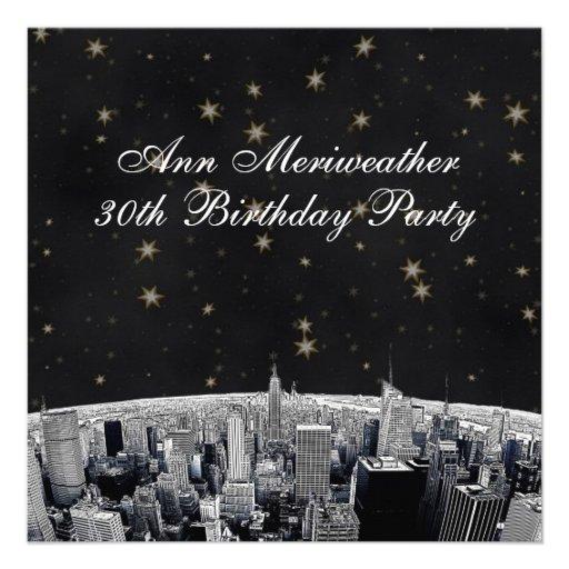 NYC Etched Skyline Black Gold Stars Birthday Custom Invites