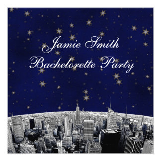 NYC Etched Skyline Blue Gold Stars Bachelorette Custom Invitations