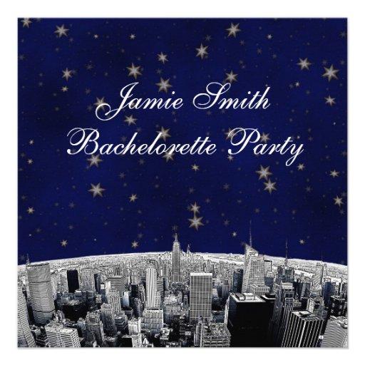 NYC Etched Skyline Blue Gold Stars Bachelorette Custom Invitations