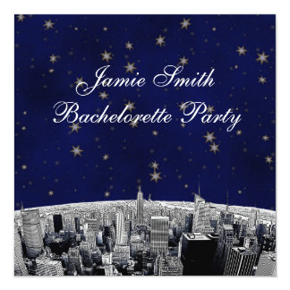 NYC Etched Skyline Blue Gold Stars Bachelorette 5.25x5.25 Square Paper Invitation Card