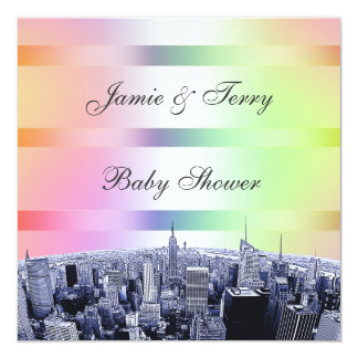 NYC Etched Skyline Pastel Rainbow 1 Baby Shower Card