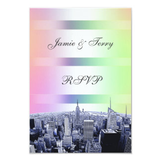 "NYC Etched Skyline Pastel Rainbow 1 RSVP 3.5"" X 5"" Invitation Card"