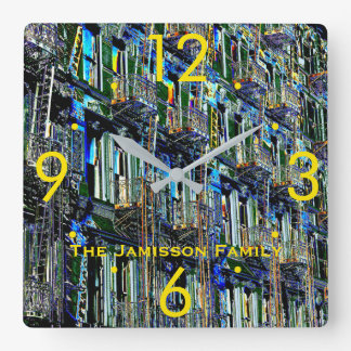 NYC Fire Escapes Pop Art Modern Personalized Clock